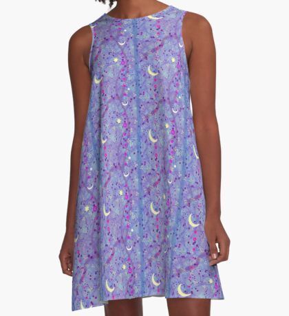 Crescent Moon and Hot Pink Stars A-Line Dress