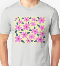 Pink Flowers on Yellow T-Shirt