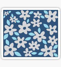 Gray Flowers on Blue Sticker