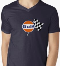 Gulf Racing checkered Men's V-Neck T-Shirt