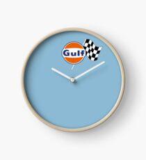 Gulf Racing checkered Clock