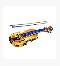 watercolor violin musical instrument  Photographic Print