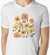 Sunflower Watercolor – Yellow & Black Palette V-Neck T-Shirt