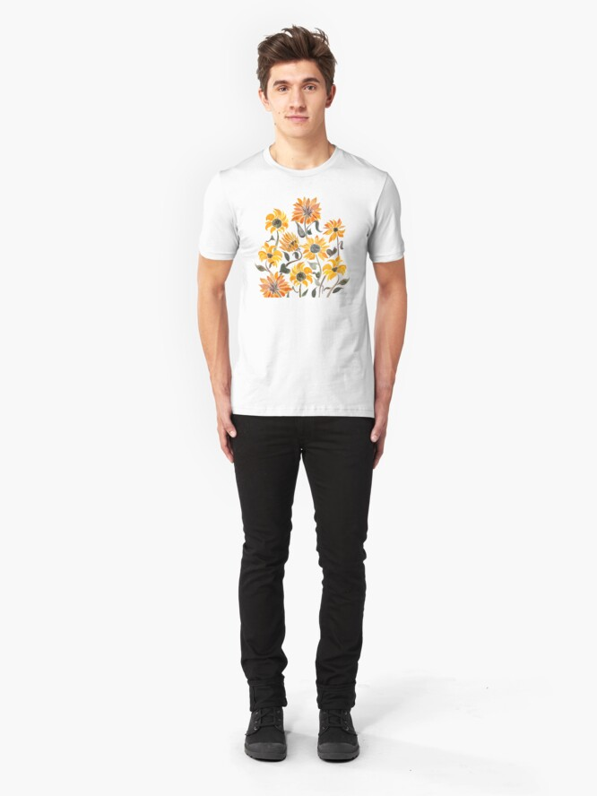 Alternate view of Sunflower Watercolor – Yellow & Black Palette Slim Fit T-Shirt