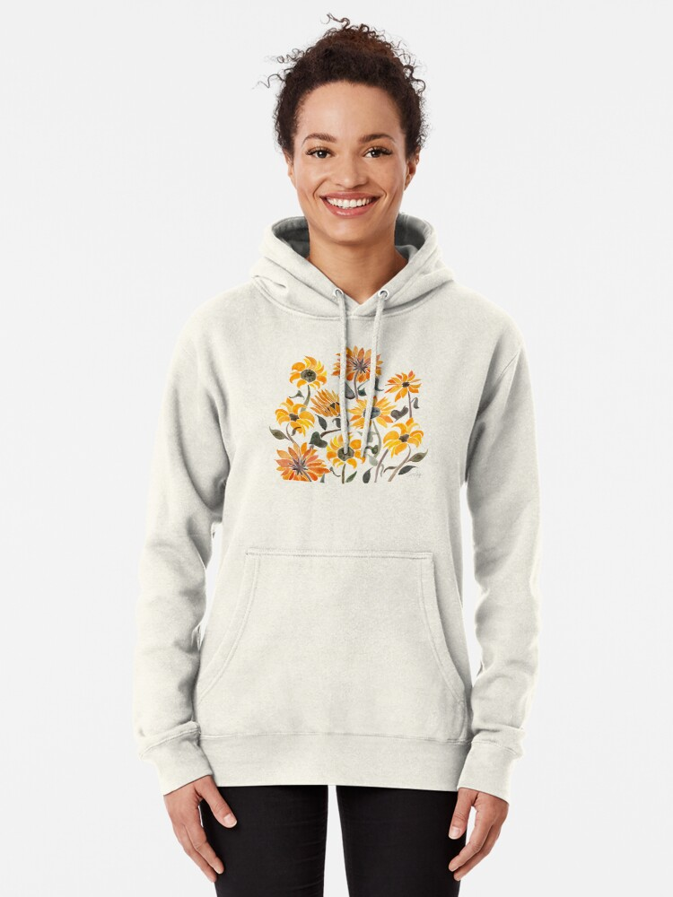 Alternate view of Sunflower Watercolor – Yellow & Black Palette Pullover Hoodie