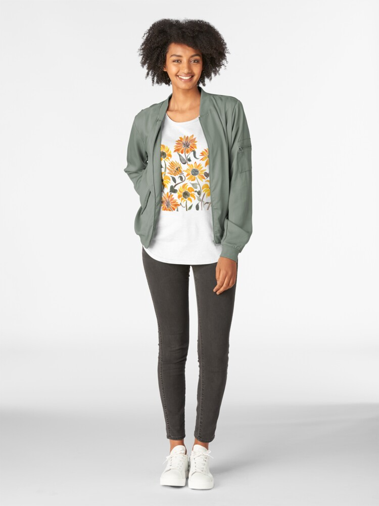 Alternate view of Sunflower Watercolor – Yellow & Black Palette Premium Scoop T-Shirt