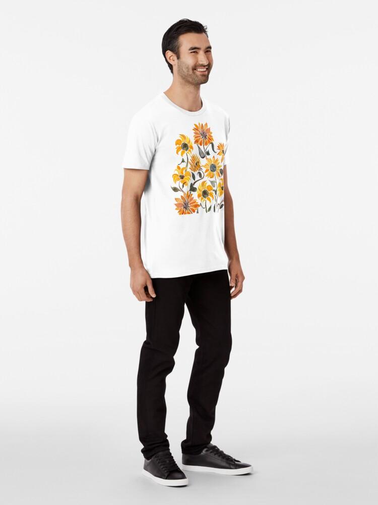 Alternate view of Sunflower Watercolor – Yellow & Black Palette Premium T-Shirt
