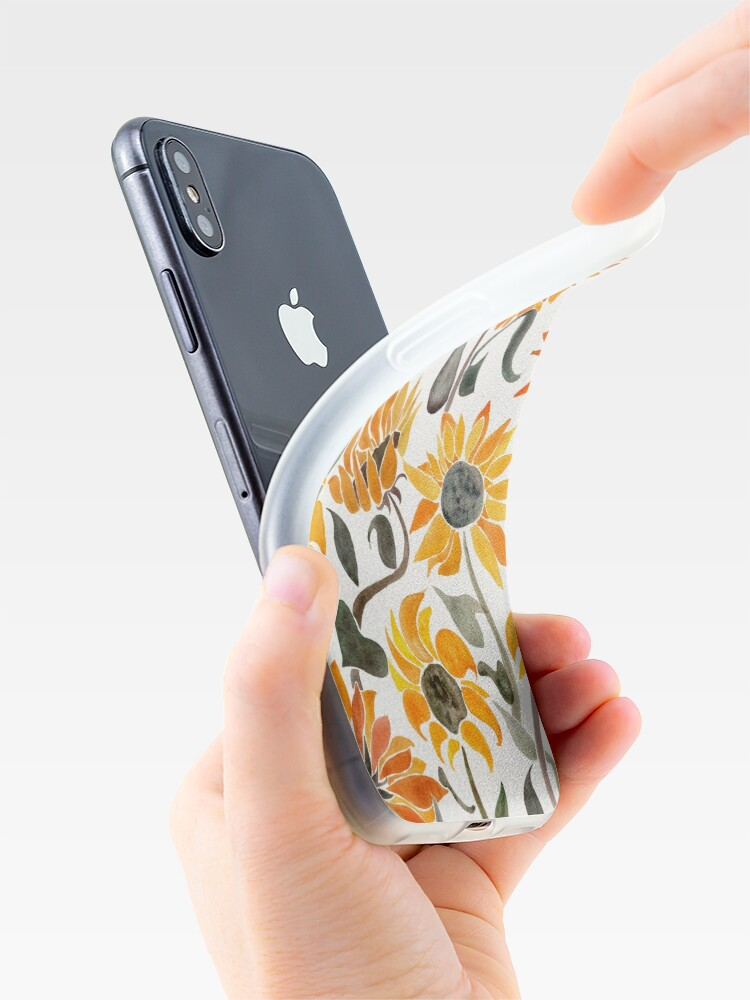 Alternate view of Sunflower Watercolor – Yellow & Black Palette iPhone Case & Cover