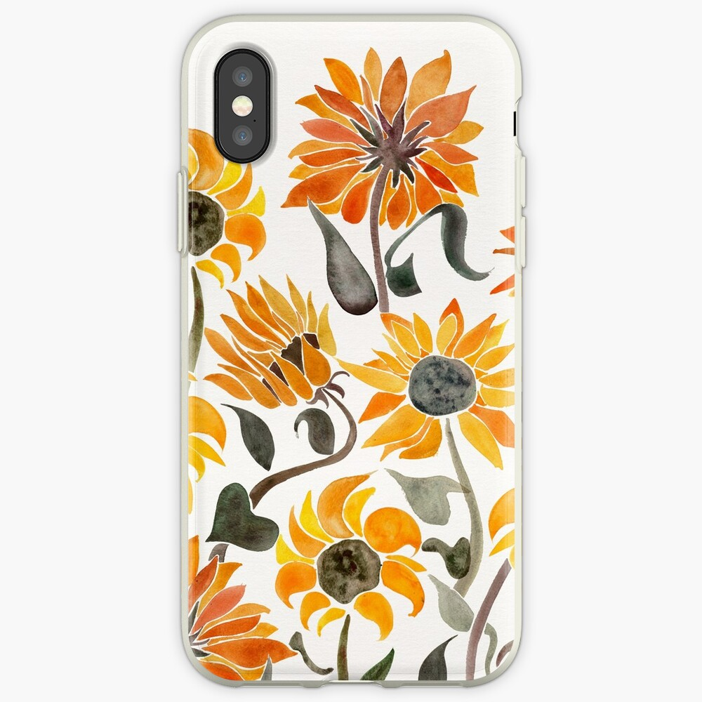 Sunflower Watercolor – Yellow & Black Palette iPhone Case & Cover