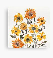 Sonnenblume-Aquarell - gelbe u. Schwarze Palette Leinwanddruck