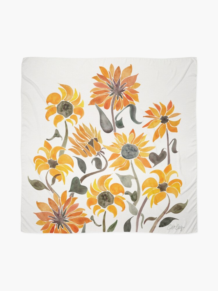 Alternate view of Sunflower Watercolor – Yellow & Black Palette Scarf