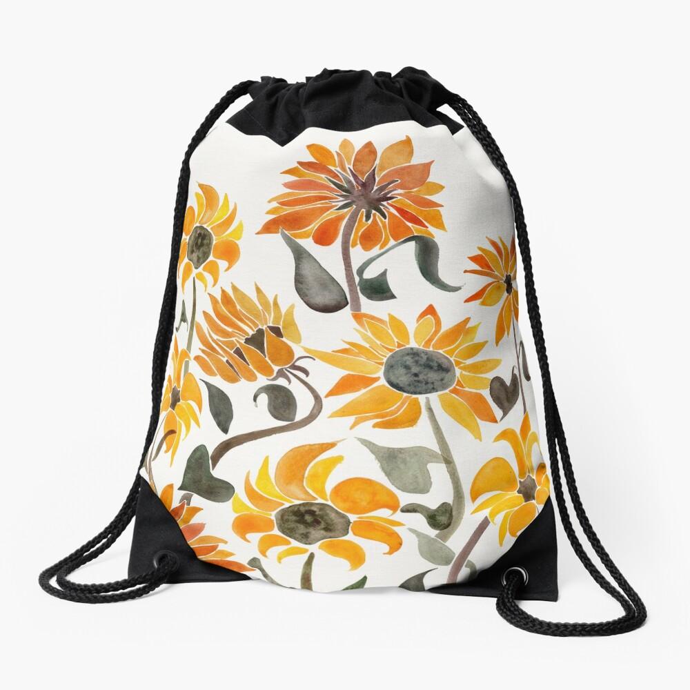 Sunflower Watercolor – Yellow & Black Palette Drawstring Bag