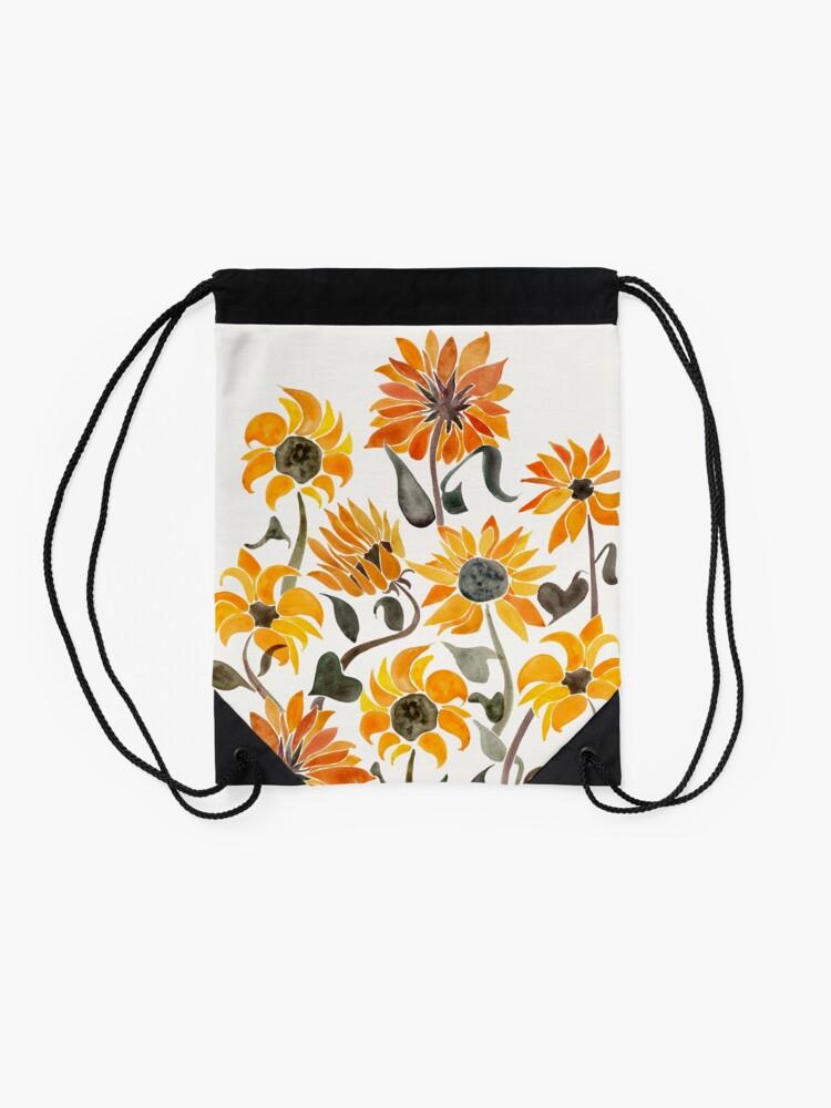 Alternate view of Sunflower Watercolor – Yellow & Black Palette Drawstring Bag