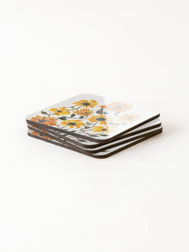 Alternate view of Sunflower Watercolor – Yellow & Black Palette Coasters (Set of 4)