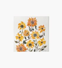 Sunflower Watercolor – Yellow & Black Palette Art Board Print