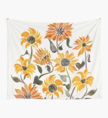 Sonnenblume-Aquarell - gelbe u. Schwarze Palette Wandbehang
