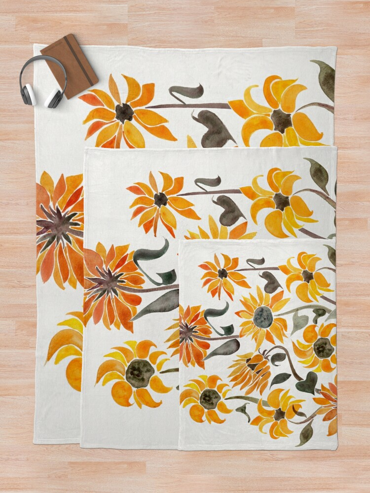 Alternate view of Sunflower Watercolor – Yellow & Black Palette Throw Blanket