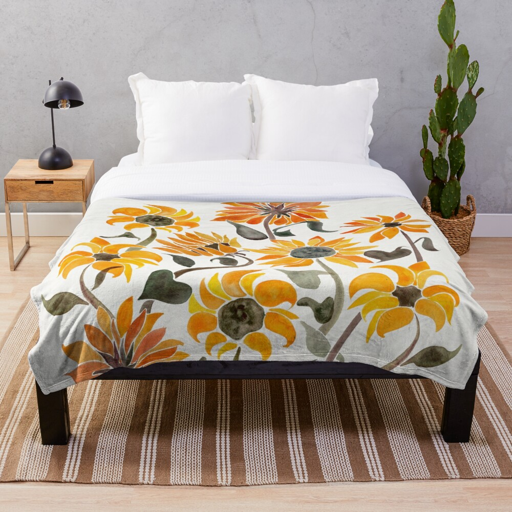 Sunflower Watercolor – Yellow & Black Palette Throw Blanket