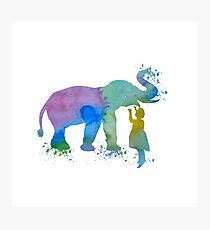 Elephant and child, water color art Photographic Print