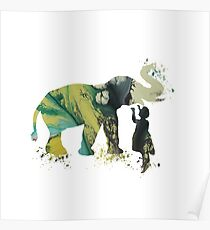 Elephant and child, watercolor art Poster