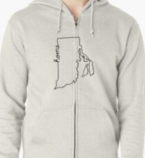 Rhode Island Home State Outline Zipped Hoodie