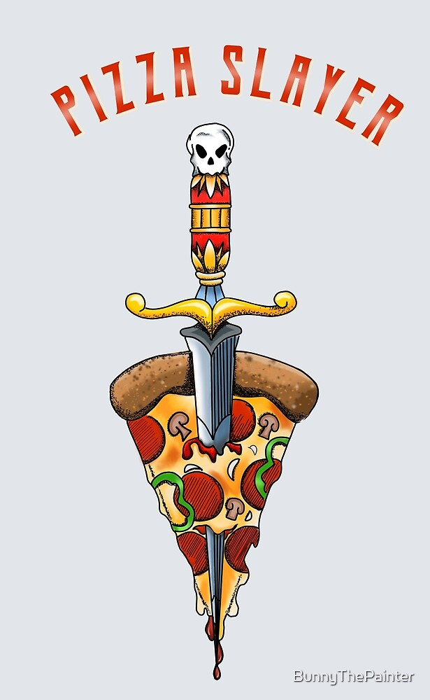 Pizza Slayer Traditional Tattoo Style by BunnyThePainter