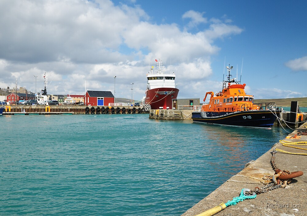 Lerwick Harbour and Lifeboat by Richard Ion