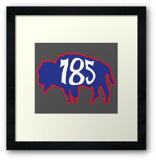 Hand Drawn Kansas Buffalo 785 Crimson Red Blue by itsrturn