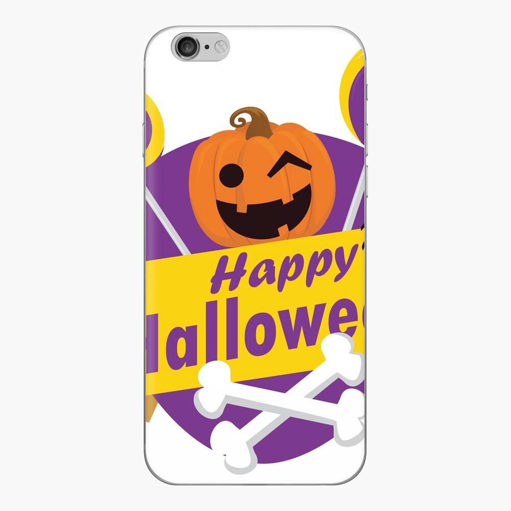 Happy Halloween Calabaza y tibias cruzadas Vinilo para iPhone