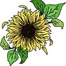yellow sunflower and leaves by andilynnf