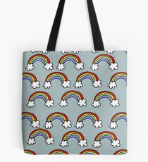 Rainbow pattern on Blue/Gray Tote Bag