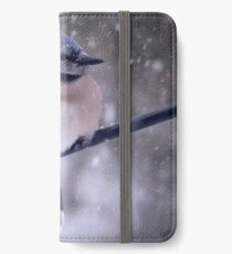 Bluejay In A Snowstorm iPhone Wallet/Case/Skin