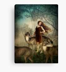 Running with the wolfs Canvas Print