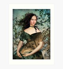 Portrait with a wolf Art Print