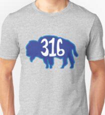 Hand Drawn Kansas Buffalo 316 Royal Blue T-Shirt