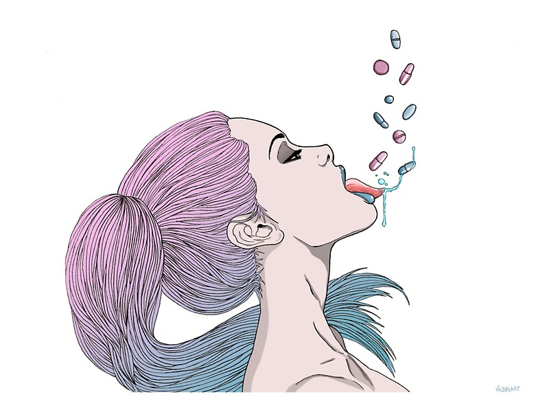 Quot Tumblr Pills Girl Quot Stickers By Queenvvivy Redbubble