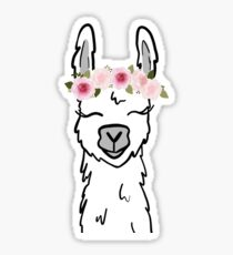 Llama with floral crown Sticker
