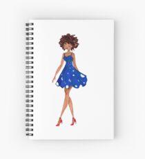 Girl in a blue dress Spiral Notebook