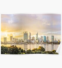Afternoon City Glow, South Perth, Perth Poster