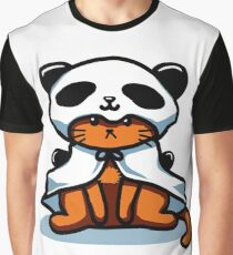 Vintage Hipster Grumpy Panda Cat T-shirt Graphic T-Shirt