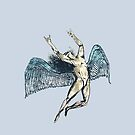 ICARUS THROWS THE HORNS - super blue grunge NEW blue by butterflyscream