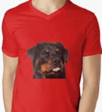 Cute Rottweiler With Tongue Out Vector Men's V-Neck T-Shirt