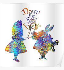 Alice im Wunderland u. Weißes Kaninchen-bunter Aquarell-Spritzer Poster