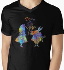 Alice In Wonderland & White Rabbit Colorful Watercolor Splatter T-Shirt