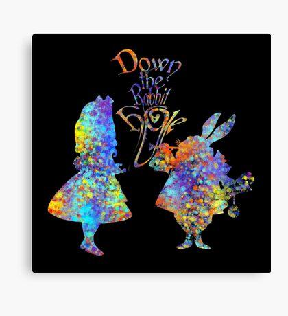 Salpicadura de acuarela colorida de Alicia en el país de las maravillas y conejo blanco Lienzo