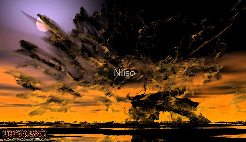 dust in sun over land of nun  by Niiso