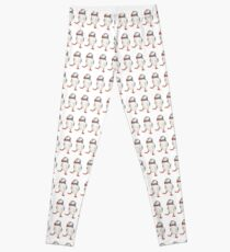 3 Dancing puffins watercolor illustration Leggings