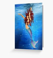 Mermaid I - Auburn Hair, Blue Eyes Greeting Card