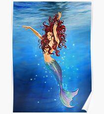 Mermaid I - Auburn Hair, Blue Eyes Poster