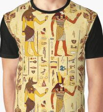 Seamless pattern with egyptian gods and ancient egyptian hieroglyphs on grunge aged paper background. Graphic T-Shirt